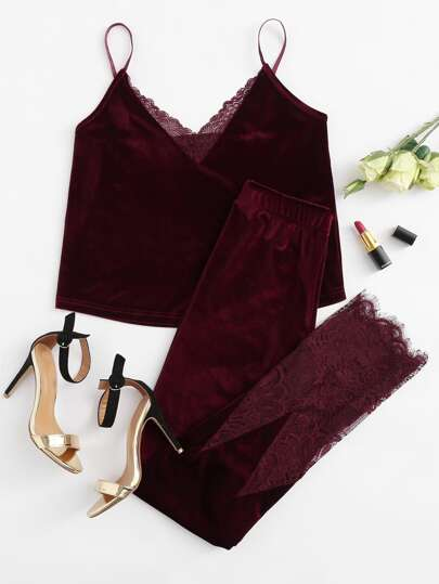 Lace Trim Velvet Cami & Pants Pj Set