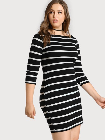 3/4 Sleeve Striped Tee Dress