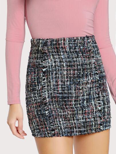 Zip Back Tweed Skirt