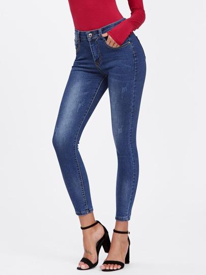 Schmale Jeans mit Bleichen Waschung