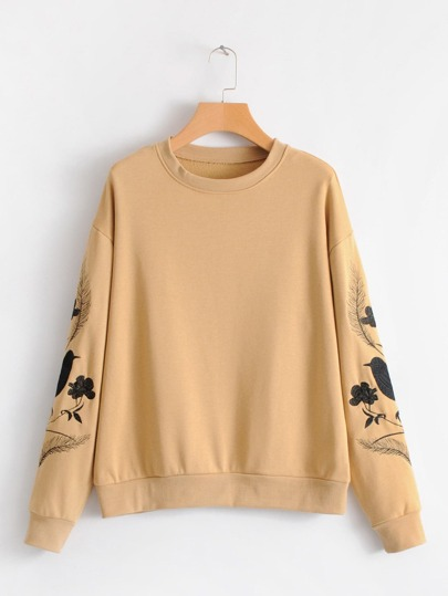Flower & Bird Embroidery Sweatshirt