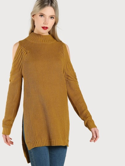 High Neck Cold Shoulder Ribbed Sweater MUSTARD