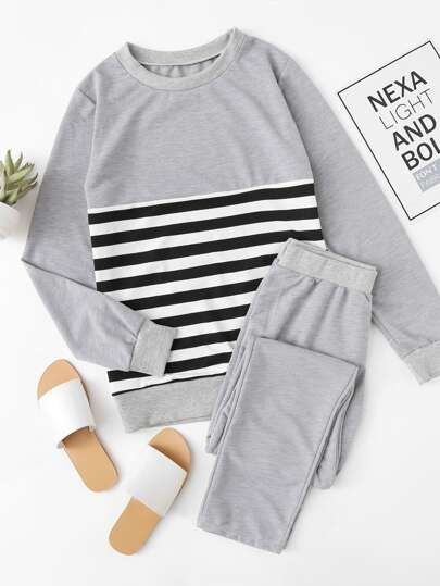 Contrast Stripe Top And Pants Pajama Set