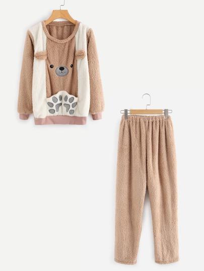 Bear Embroidered Ribbed Knit Trim Pajama Set