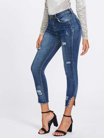Cut Out Hem Bead Decoration Ripped Jeans