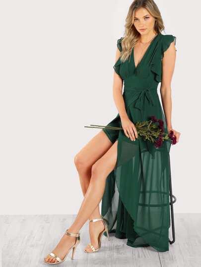 Frill Sleeve Surplice Wrap Dress