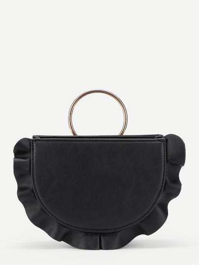 Ruffle Trim Ring Handle PU Shoulder Bag