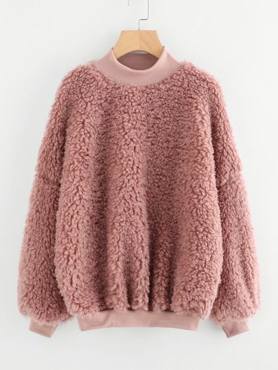 High Neck Fluffy Sweatshirt