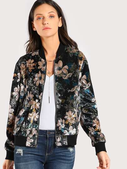Ribbed Trim Floral Bomber Jacket