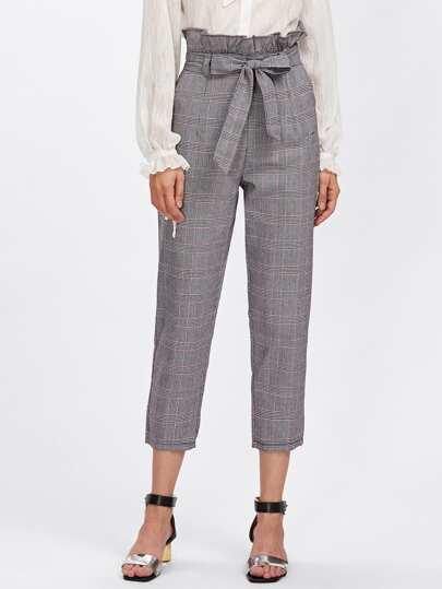 Frill Waist Self Tie Capri Pants