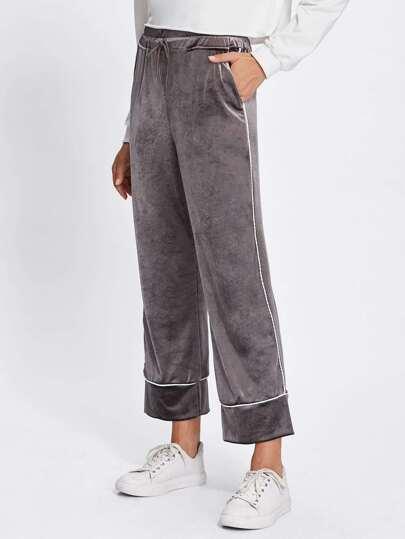 Contrast Binding Velvet Wide Pants
