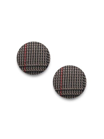 Gingham Print Round Stud Earrings