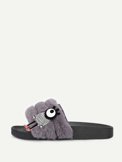 Faux Fur Cartoon Patch Sliders