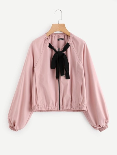 Contrast Bow Tie Neck Raglan Sleeve Jacket