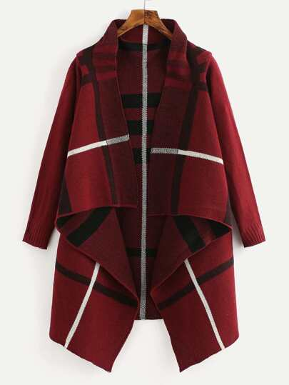 Tartan Plaid Waterfall Cardigan