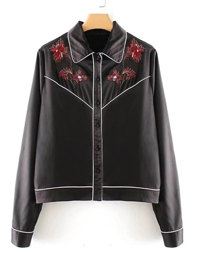 Flower Embroidery Contrast Piping Satin Blouse