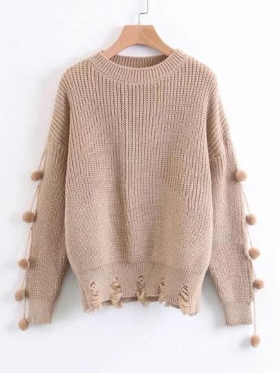 Shredded Detail Pom Pom Trim Sweater