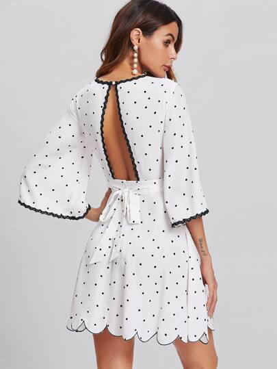 Bell Sleeve Open Back Scalloped Polka Dot Dress