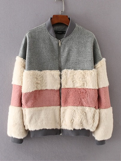 Block Striped Faux Fur Panel Jacket