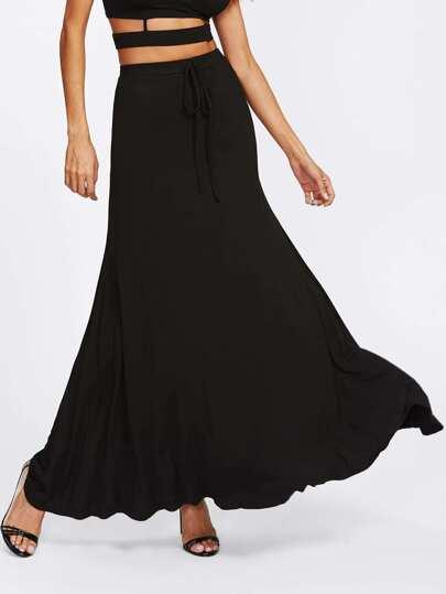 Drawstring Waist Swing Maxi Skirt