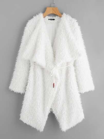 Waterfall Collar Faux Fur Coat