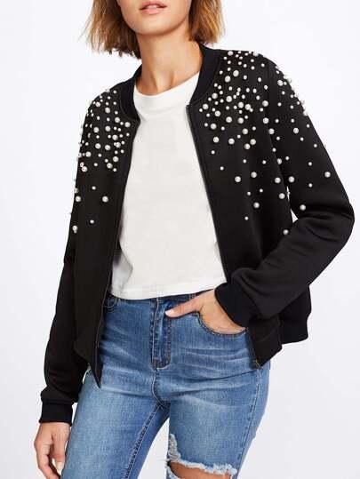 Pearl Embellished Bomber Jacket