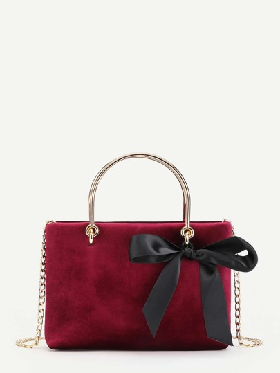 Bow Decorated Velvet Chain Bag