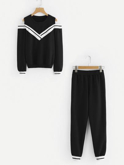 Top bicolore avec épaules nues avec Pantalons