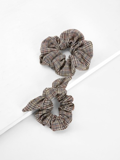Knot Ear Plaid Hair Tie 2pcs