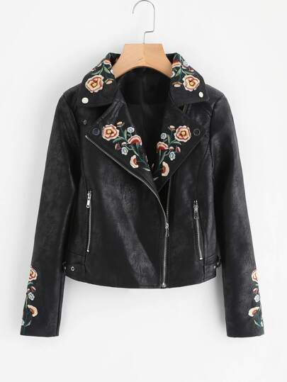 Botanical Print Faux Leather Moto Jacket