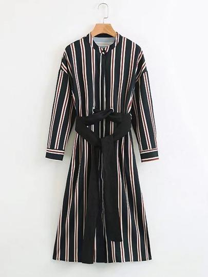 Vertical Striped Self Tie Shirt Dress