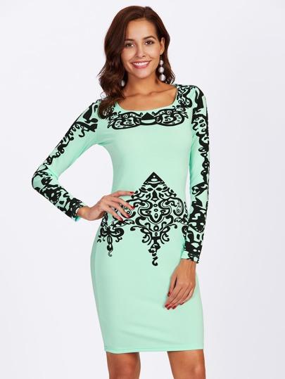 Square Neck Damask Print Dress