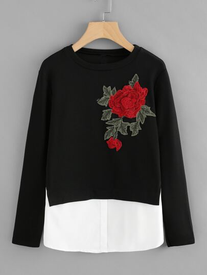 Contrast Hem Rose Applique Tee