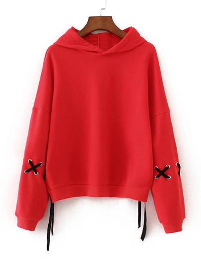 Contrast Lace Up Drop Shoulder Hoodie