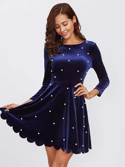 Pearl Beading Scalloped Velvet Dress