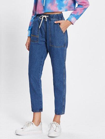 Drawstring Waist Dual Pocket Jeans