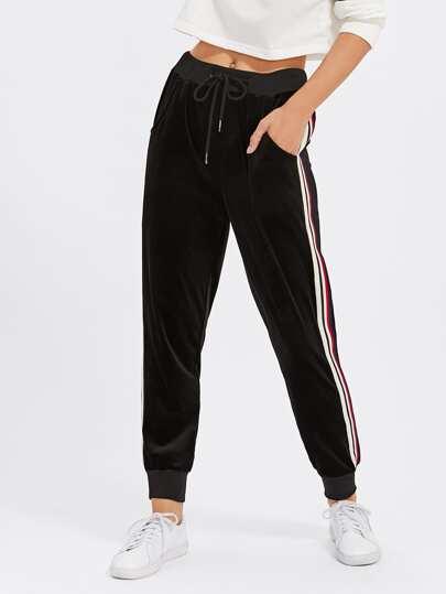 Pantalones de rayas de terciopelo