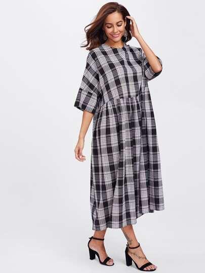 Buttoned Keyhole Back Kimono Sleeve Plaid Smock Dress
