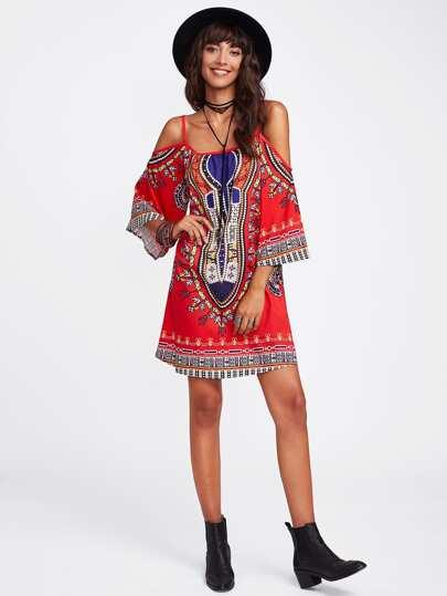 Tribal Print Kimono Sleeve Dress