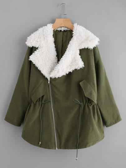 Sherpa Lined Notch Collar Parka Coat