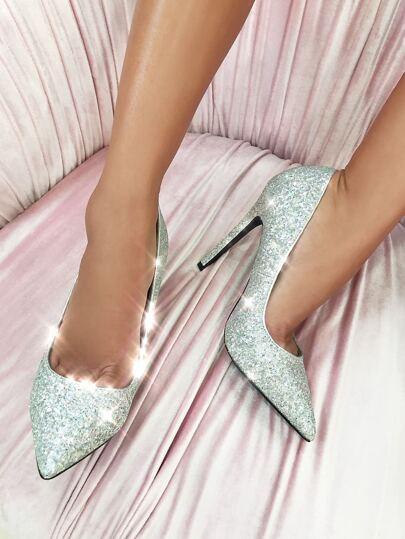 Glitter Stiletto Pumps SILVER