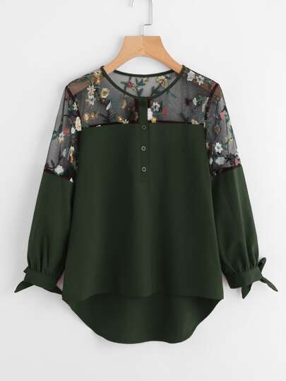Embroidered Lace Panel Dip Hem Tie Cuff Blouse