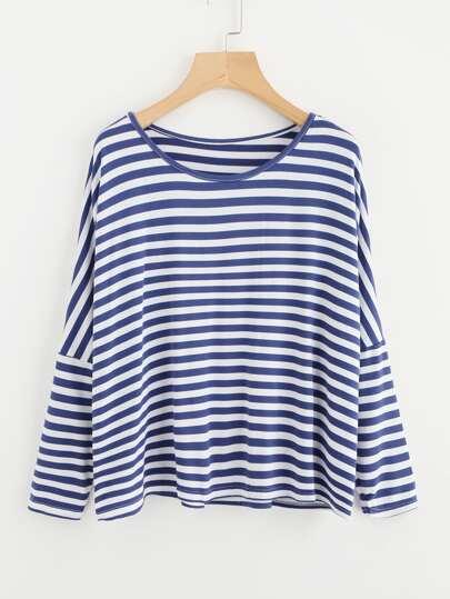 Tee-shirt à rayures contrastées avec la chute de l\'épaule