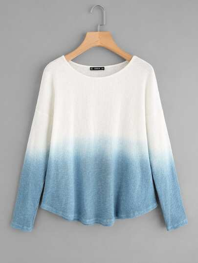 Rib Knit Curved Hem Ombre T-shirt
