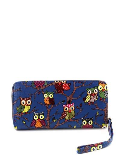 حقيبة يد بمقبض لون أزرق  مطبوعة برسمة بوم