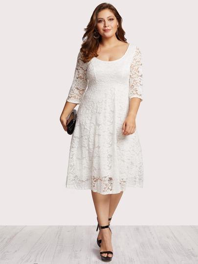 Floral Lace Zip Up Back Dress