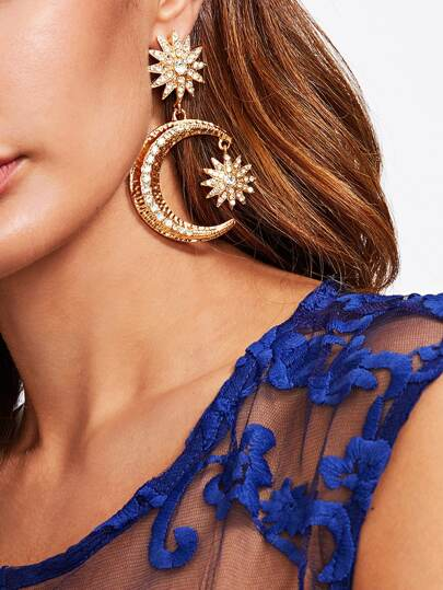 Rhinestone Moon Drop Earrings