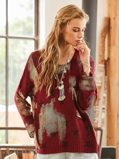 Side Split Dip Hem Star Sweater