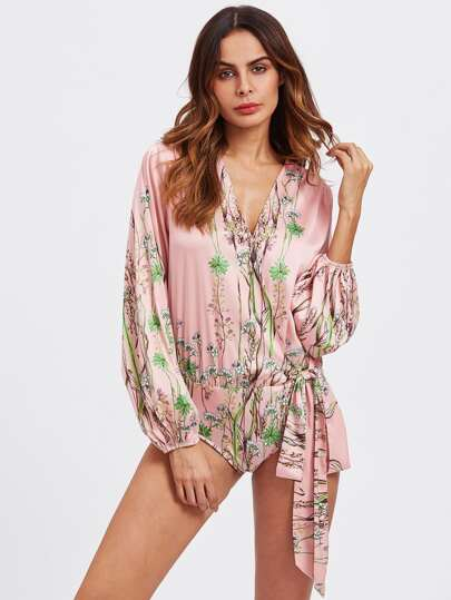 Surplice Wrap Botanical Blouse Bodysuit