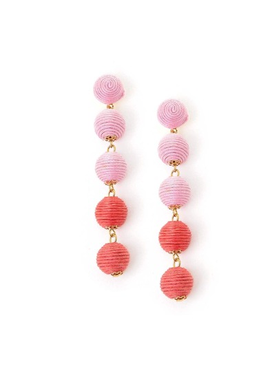 Two Tone Ball Design Drop Earrings